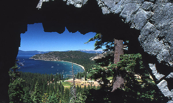Glenbrook, looking through the arch entrance to the topless cave.<br> Photo by Blitzo.