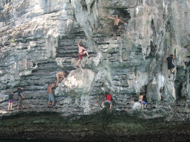 deep water soloing: krabi, thailand