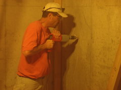 Rock Climbing Photo: Drilling in the foundation
