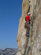 Rock Climbing Photo: Nearing the end of Thank God Ledge.
