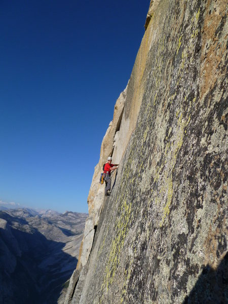 Rock Climbing Photo: Spectacular exposure on Thank God Ledge.