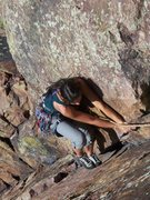 Rock Climbing Photo: Lisa on the fourth pitch of Yellow Spur