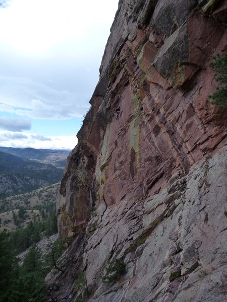 Ben up high on Spicoli making thin moves before the roof crux. This route is SOOOO classic.