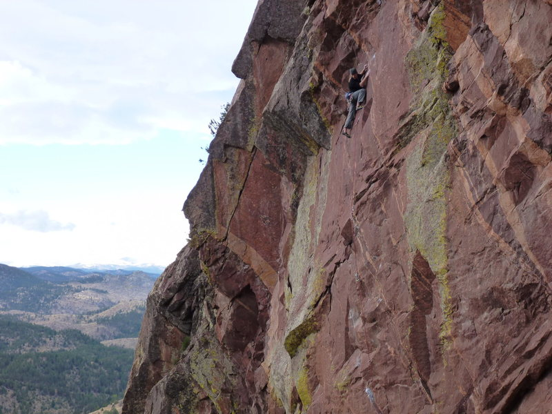 Rock Climbing Photo: Thin traversing moves up high on Spicoli. Another ...