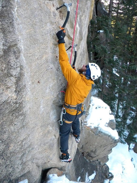 Rock Climbing Photo: Cory Fleagle working on the new bolted mixed line ...