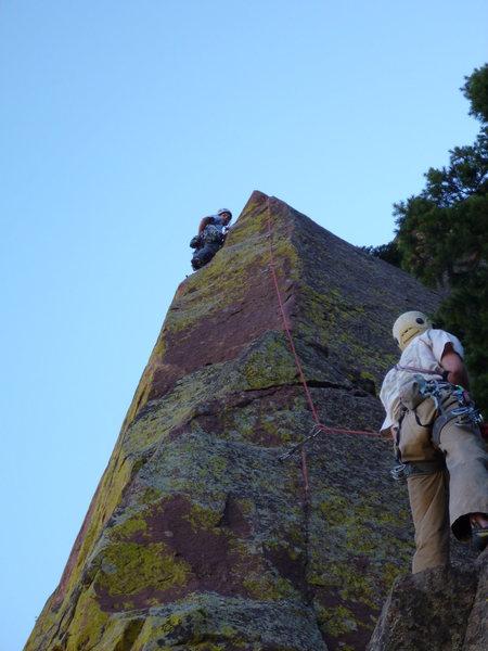 Rock Climbing Photo: Lisa high on Sunrider.