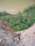 Rock Climbing Photo: A.Aldama jugging a fixed line through the dihedral...