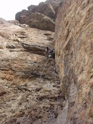 Rock Climbing Photo: A. Aldama leading the dihedral, with the roof pitc...