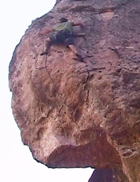 The route concludes with moderate, technical face climbing.