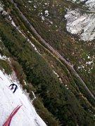 Rock Climbing Photo: Donovan Bagley climbing up p1.  The reason we clim...