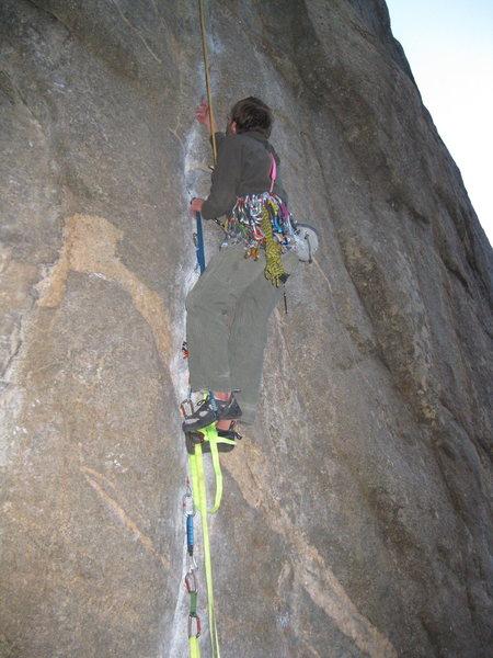 Rock Climbing Photo: Practice aid climbing.