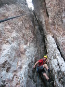 Rock Climbing Photo: Climbing a chimney crack in the area of El Jardin ...