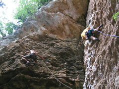Rock Climbing Photo: Two slightly overhanging climbs in the area of La ...