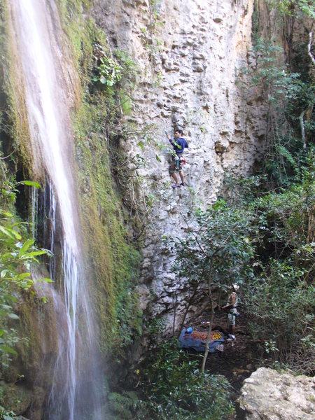 Rock Climbing Photo: J.M. climbing La Soleada, in the area of La Cascad...