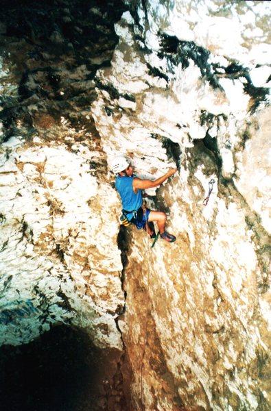P. Marquez climbing La Grieta in the area of La Cascada.