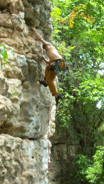 Rock Climbing Photo: A. Aldama pulls down on some jugs in the area of L...