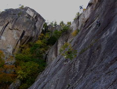 Rock Climbing Photo: Chris finishing up the 5.9 traverse. Photo: Jeff L...