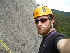 Rock Climbing Photo: Lincoln at the P1 anchors. added the photo to show...