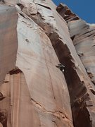 Rock Climbing Photo: Mike Keegan leading The Sickle at OMW. Great hands...