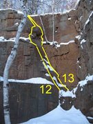 Rock Climbing Photo: Quantum Order Route 13 on right crach