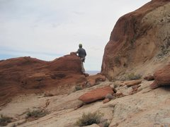 Rock Climbing Photo: Pat looking  over the ridge to great views to the ...