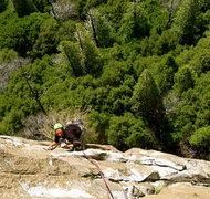 Rock Climbing Photo: Julian Poush on the 3rd pitch traverse