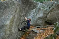 Rock Climbing Photo: Sam starting the problem.
