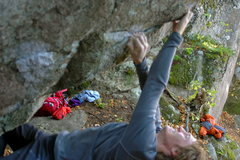 Rock Climbing Photo: Sam working the problem.