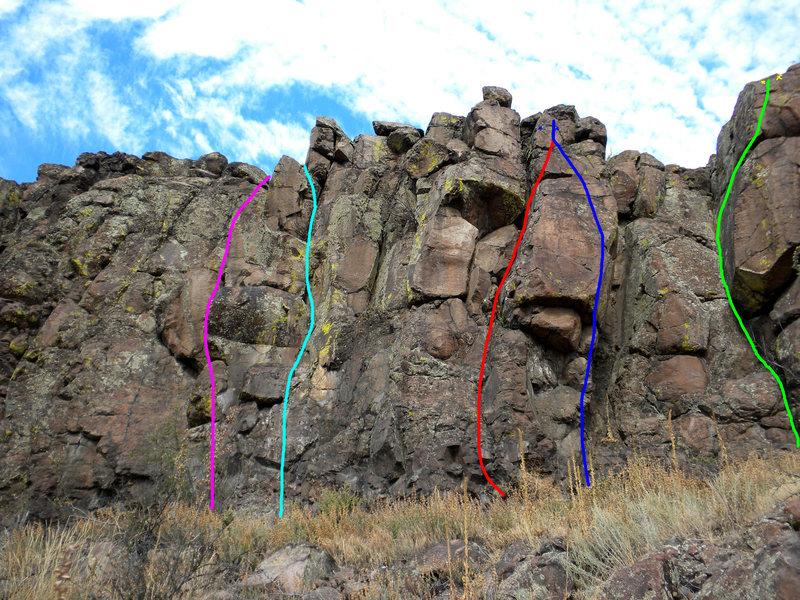 Rock Climbing Photo: Magenta - Purposefully Put In. Cyan - Scraping the...