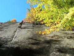 Rock Climbing Photo: Me at the third bolt right befor the second cruxs....