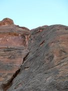 Rock Climbing Photo: Looking up pitch 1, the first slings are visible i...