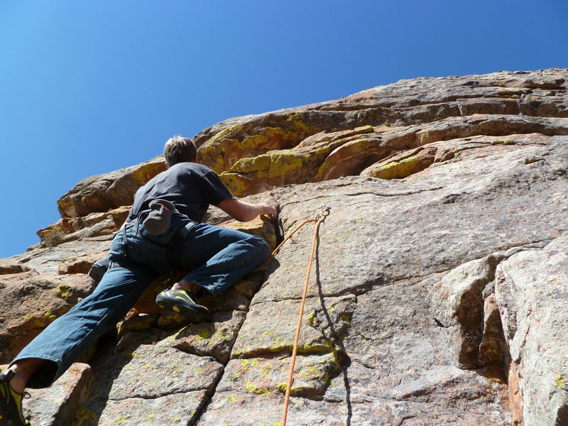 Starting the route at the first bolt.