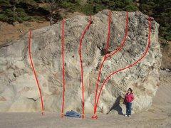 Rock Climbing Photo: Climbs on the west face of Navarro Beach Boulder: ...