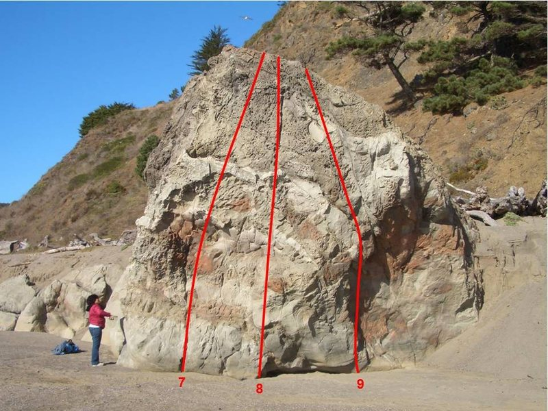 Climbs on the south face of Navarro Beach Boulder: (7) Señor V0 or 5.10c@SEMICOLON@ (8) Señora V0 or 5.10c@SEMICOLON@ (9) Señorita V0- or 5.10a. Note the steep sand bank behind the rock, which may cover the rock during part of the year.