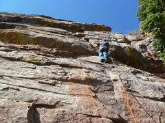 Rock Climbing Photo: Low on the route.  At the third bolt.