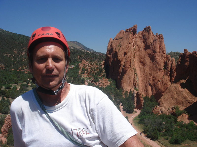 top of Montezuma's Tower, Garden of the Gods (North Ridge, 5.7)<br> <br> photo by Dave Wayne