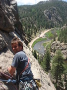 Rock Climbing Photo: belaying on Arch Rock, Elevenmile Canyon