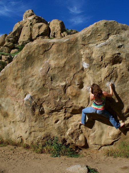 So, I stumbled across this boulder problem while in California over spring break last year and I was wondering if anyone knows the name of this route.