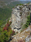 Rock Climbing Photo: All four pitches. The start is barely noticeable w...