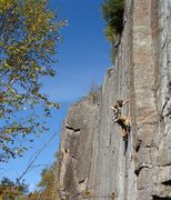 Rock Climbing Photo: Myself getting into the finger crack. Photo By Ada...