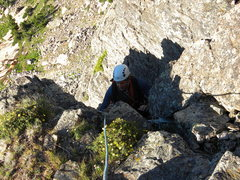 Rock Climbing Photo: Mike Zadd near the end of the 2nd pitch, exiting t...
