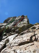 Rock Climbing Photo: Your two options once below the summit spire, gree...