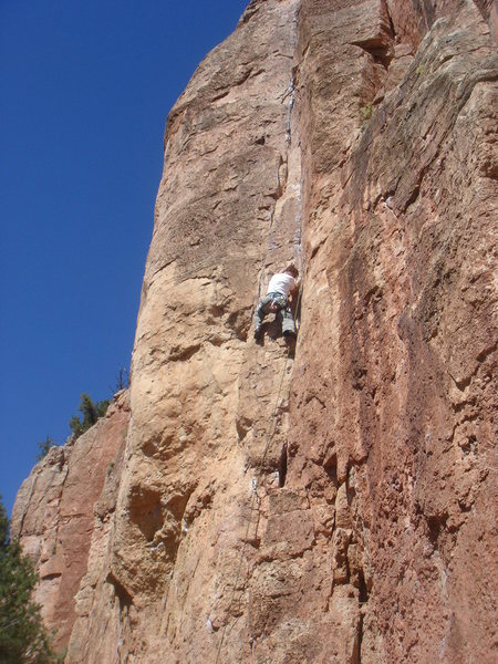 got my redpoint on Dihedrus (5.10b), Cactus Cliff, Shelf Rd.  :-)<br> <br> photo by Buster Jessik