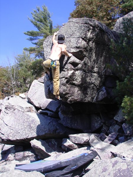Rock Climbing Photo: The last move, desperate.