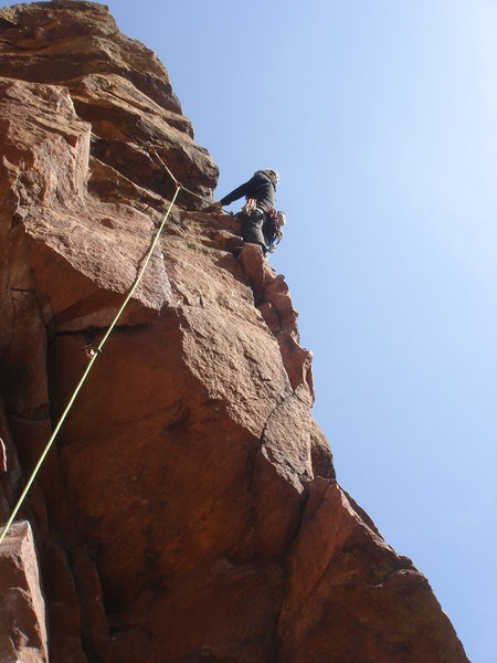Rock Climbing Photo: Cheryl leading the 5.8 variation.