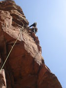 Rock Climbing Photo: Cheryl leading the 5.8 variation.