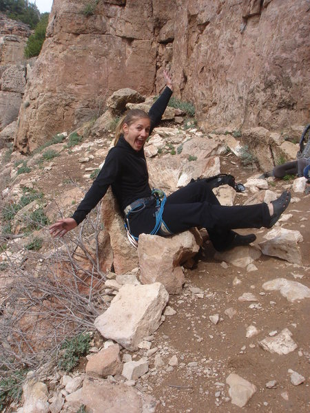 Tanya showing off the best belay seat anywhere!
