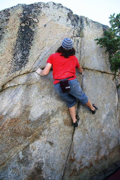 Rock Climbing Photo: Setting up for the move to the crimp high on the l...