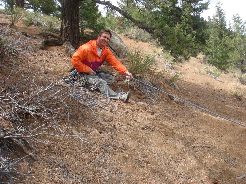 A typical belay for Silver Cascade.  I'm anchored to a big tree root.
