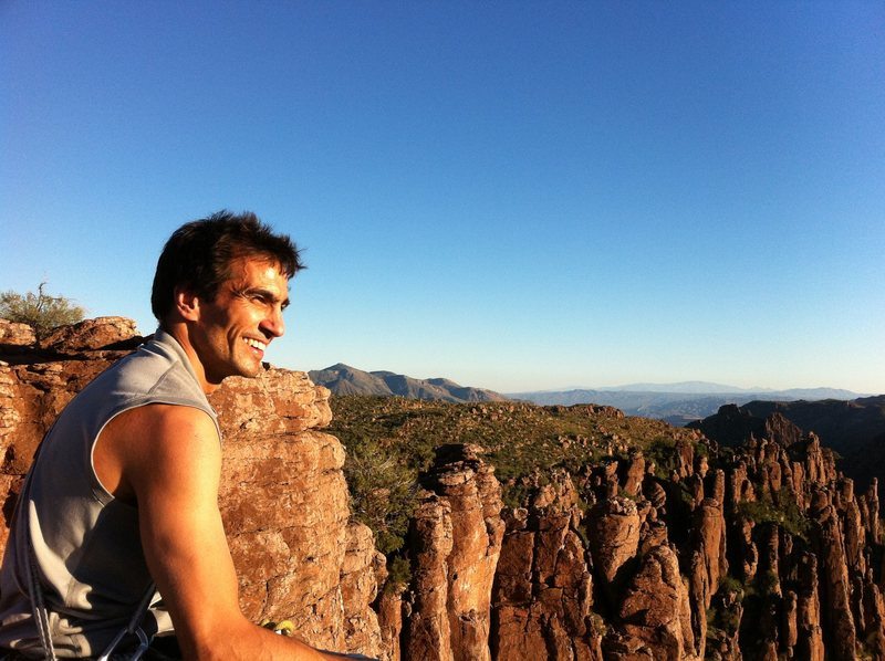 My very happy brother on top -- notice Ray mine way off in the distance!